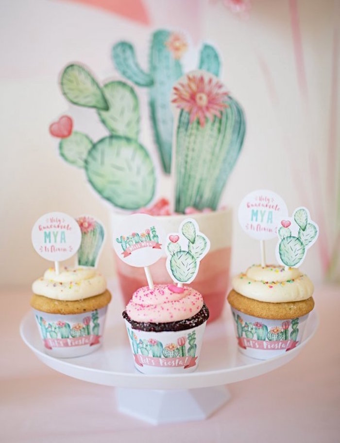 Cactus Cupcakes from a Pastel Cactus Party on Kara's Party Ideas | KarasPartyIdeas.com (10)