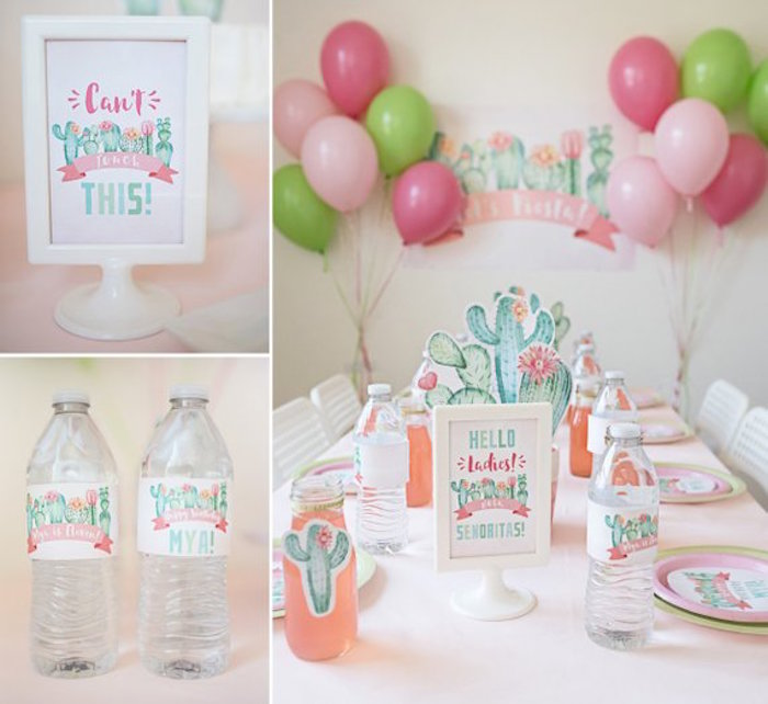 Cactus Themed Guest Table + Party Signage from a Pastel Cactus Party on Kara's Party Ideas | KarasPartyIdeas.com (6)