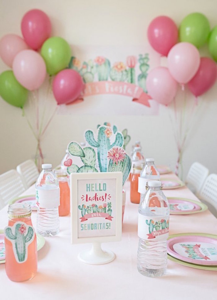 Cactus Themed Guest Table from a Pastel Cactus Party on Kara's Party Ideas | KarasPartyIdeas.com (4)
