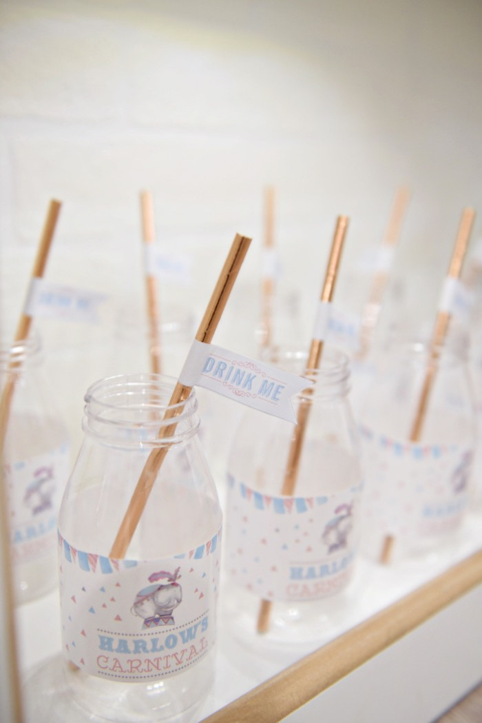 Carnival Drink Bottles from a Pastel Carnival Birthday Party on Kara's Party Ideas | KarasPartyIdeas.com (10)