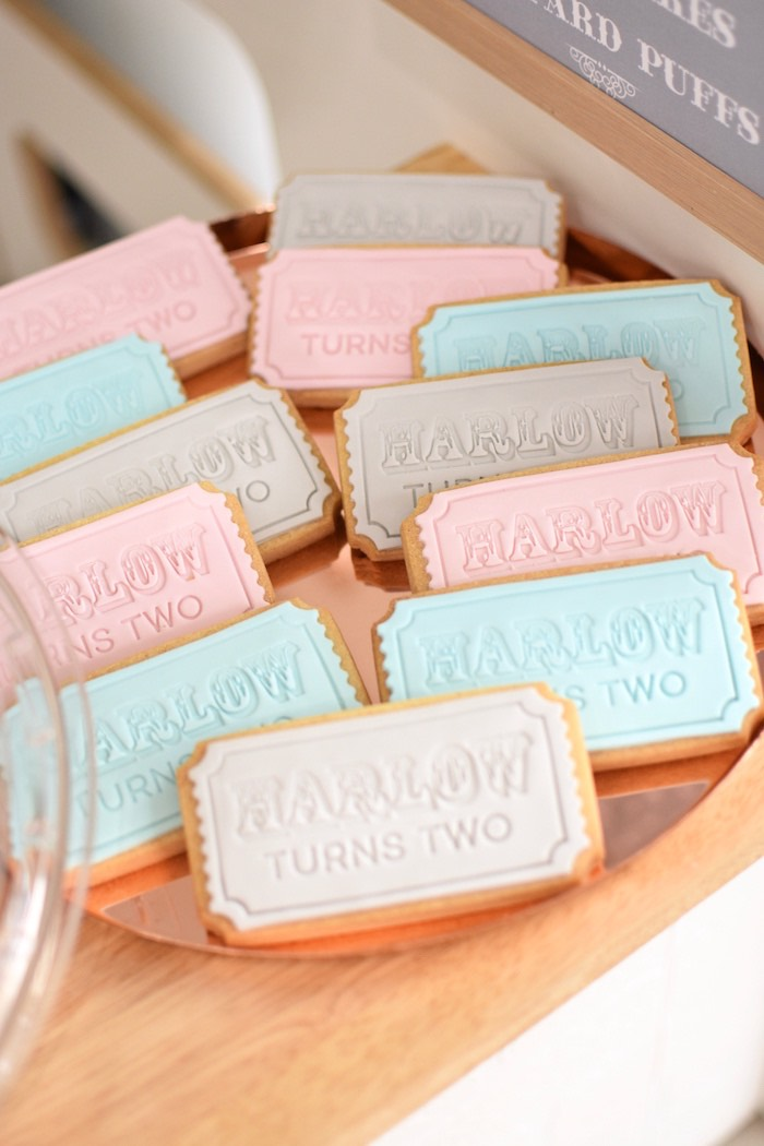 Personalized Ticket Stub Cookies from a Pastel Carnival Birthday Party on Kara's Party Ideas | KarasPartyIdeas.com (9)