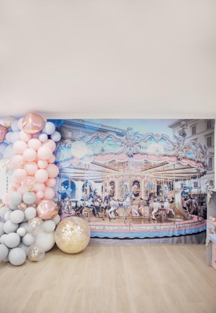 Carousel + Balloon Garland Backdrop from a Pastel Carnival Birthday Party on Kara's Party Ideas | KarasPartyIdeas.com (4)