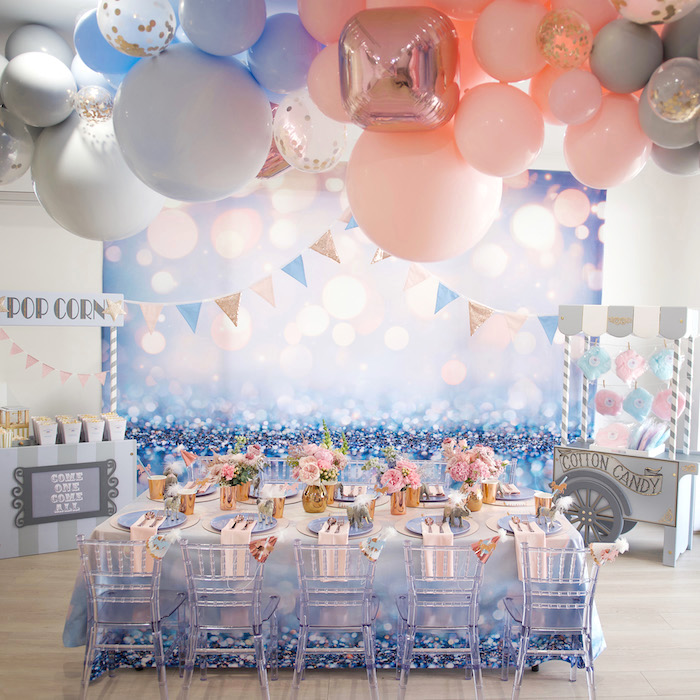 Girly Glam Carnival Guest Table from a Pastel Carnival Birthday Party on Kara's Party Ideas | KarasPartyIdeas.com (20)