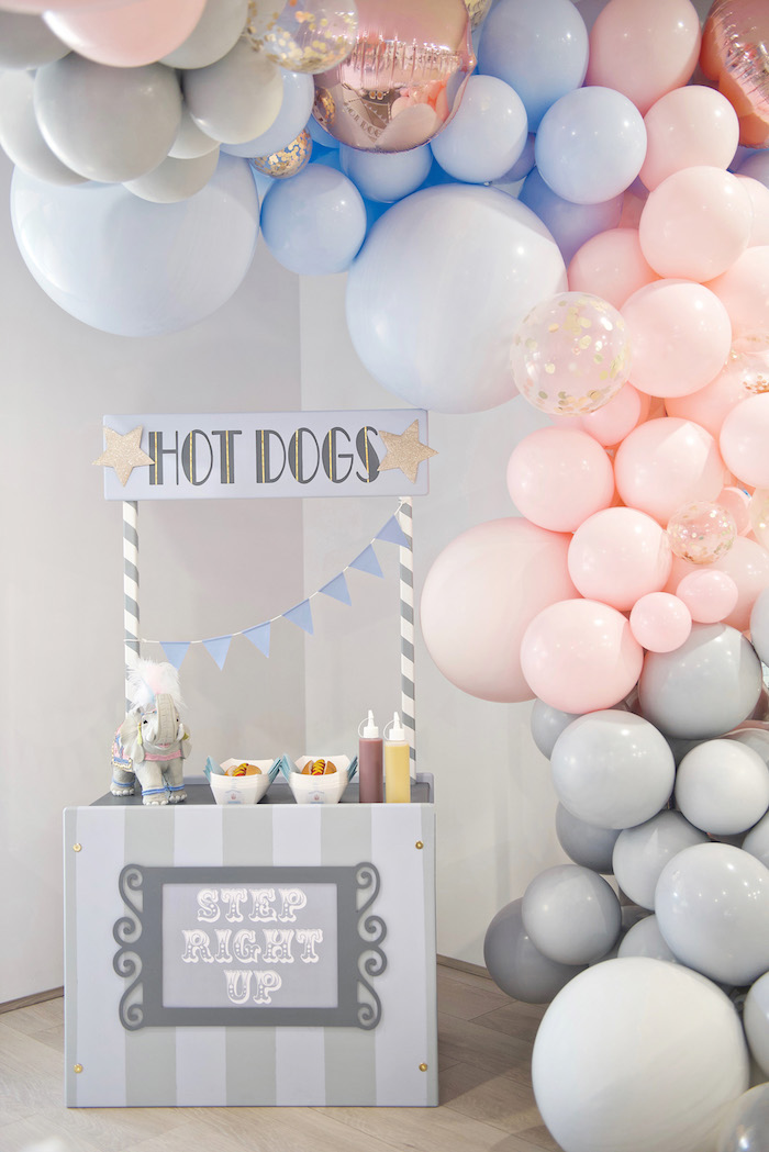 Hot Dog Stand Cascaded by a Beautiful Balloon Garland from a Pastel Carnival Birthday Party on Kara's Party Ideas | KarasPartyIdeas.com (18)