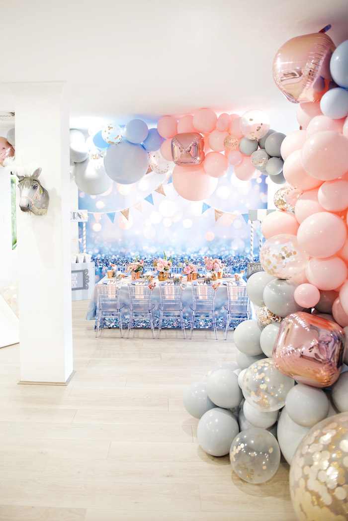 Girly Glam Guest Table from a Pastel Carnival Birthday Party on Kara's Party Ideas | KarasPartyIdeas.com (17)