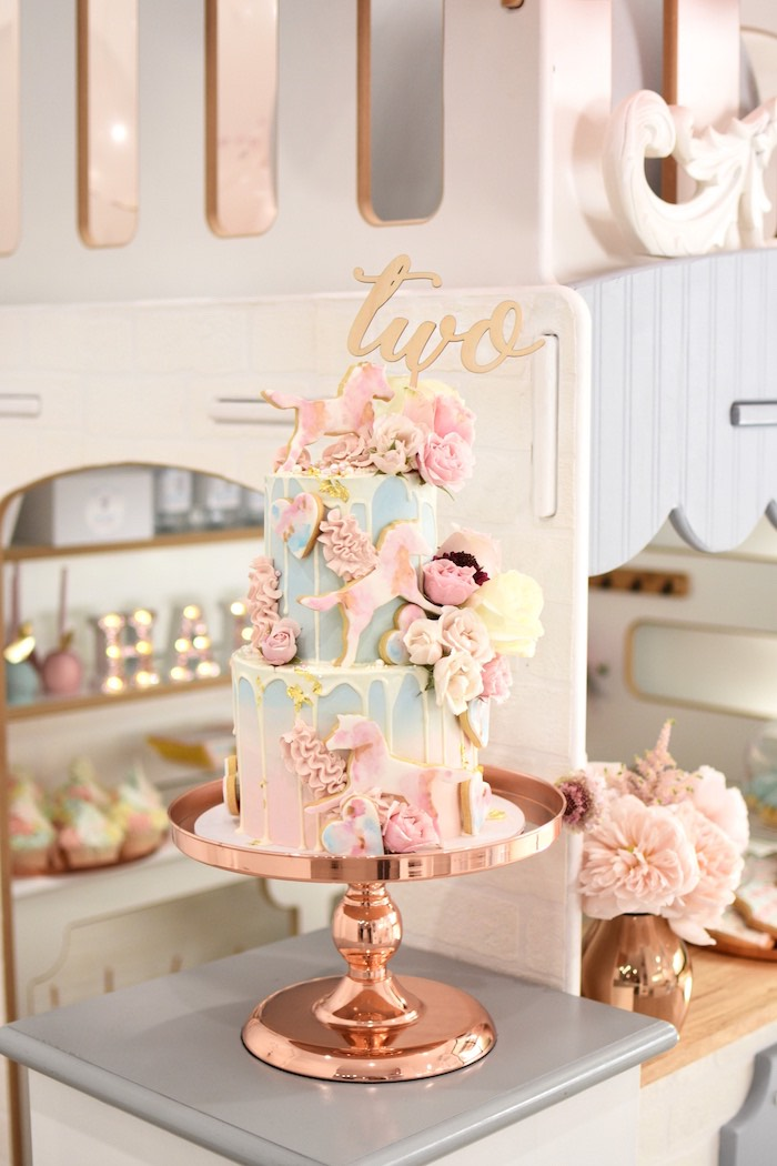 Floral Glam Carnival Themed Birthday Cake from a Pastel Carnival Birthday Party on Kara's Party Ideas | KarasPartyIdeas.com (16)
