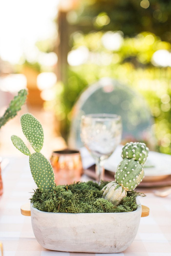 Cactus Table Centerpiece from a Peachy Prickly 1st Birthday Party on Kara's Party Ideas | KarasPartyIdeas.com (25)