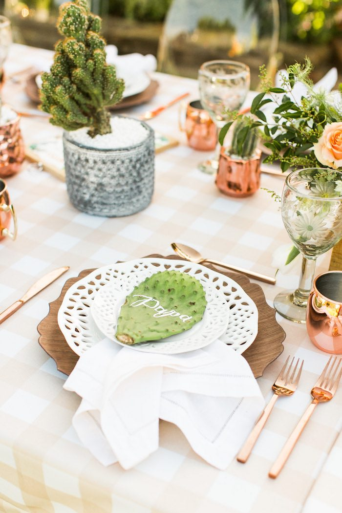 Cactus Table Setting from a Peachy Prickly 1st Birthday Party on Kara's Party Ideas | KarasPartyIdeas.com (24)
