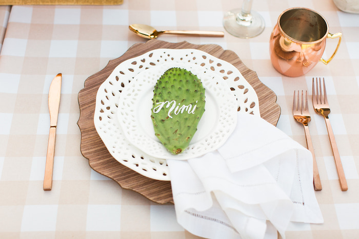 Cactus Table Setting from a Peachy Prickly 1st Birthday Party on Kara's Party Ideas | KarasPartyIdeas.com (23)