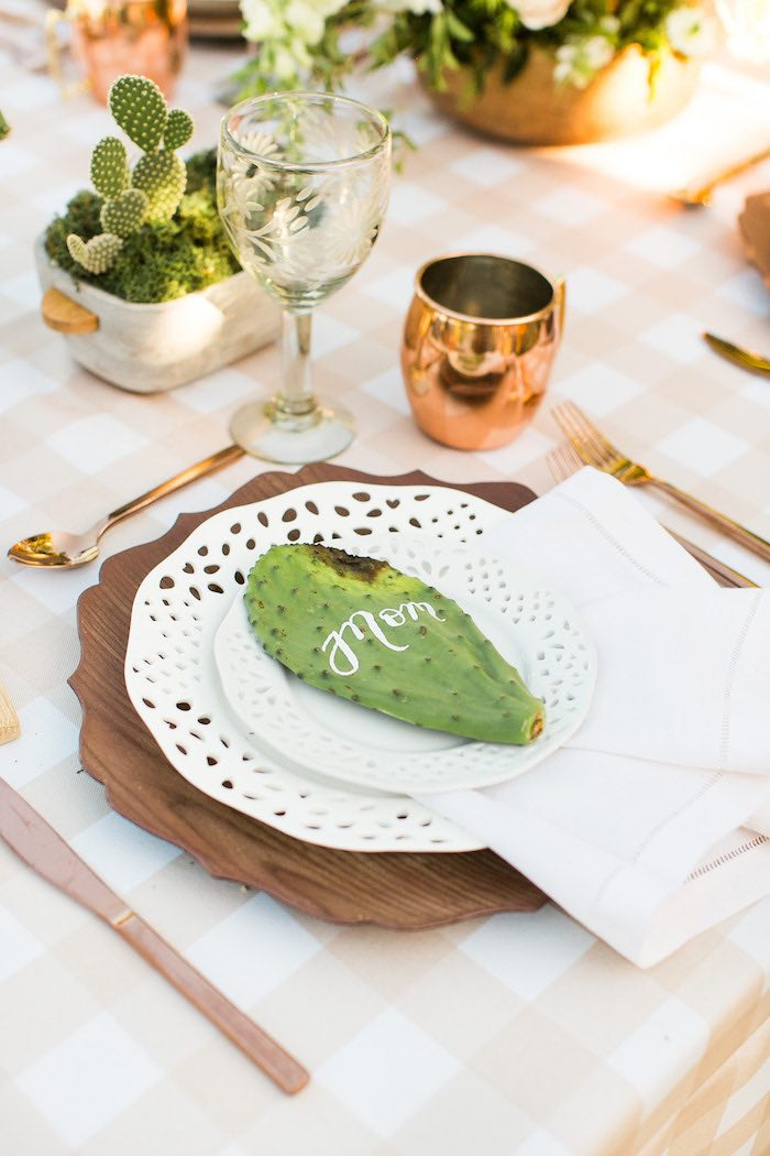 Cactus Table Setting from a Peachy Prickly 1st Birthday Party on Kara's Party Ideas | KarasPartyIdeas.com (22)