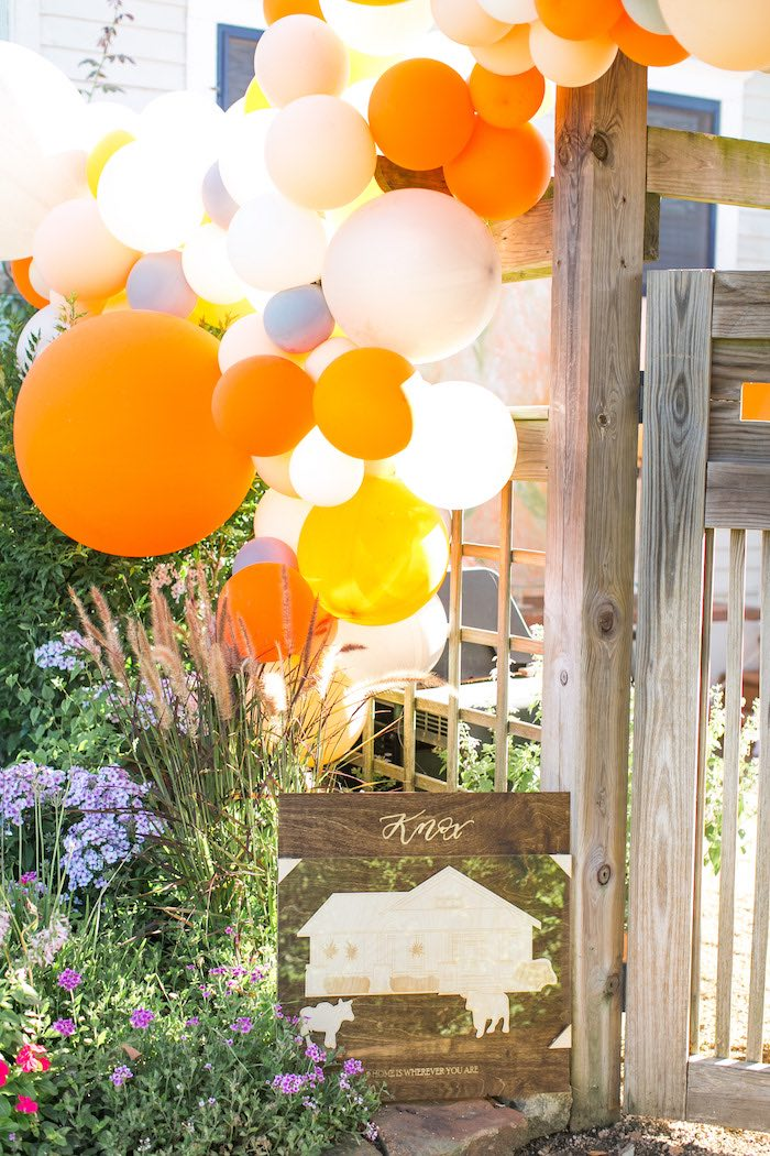 Orange Balloon Arch from a Peachy Prickly 1st Birthday Party on Kara's Party Ideas | KarasPartyIdeas.com (21)