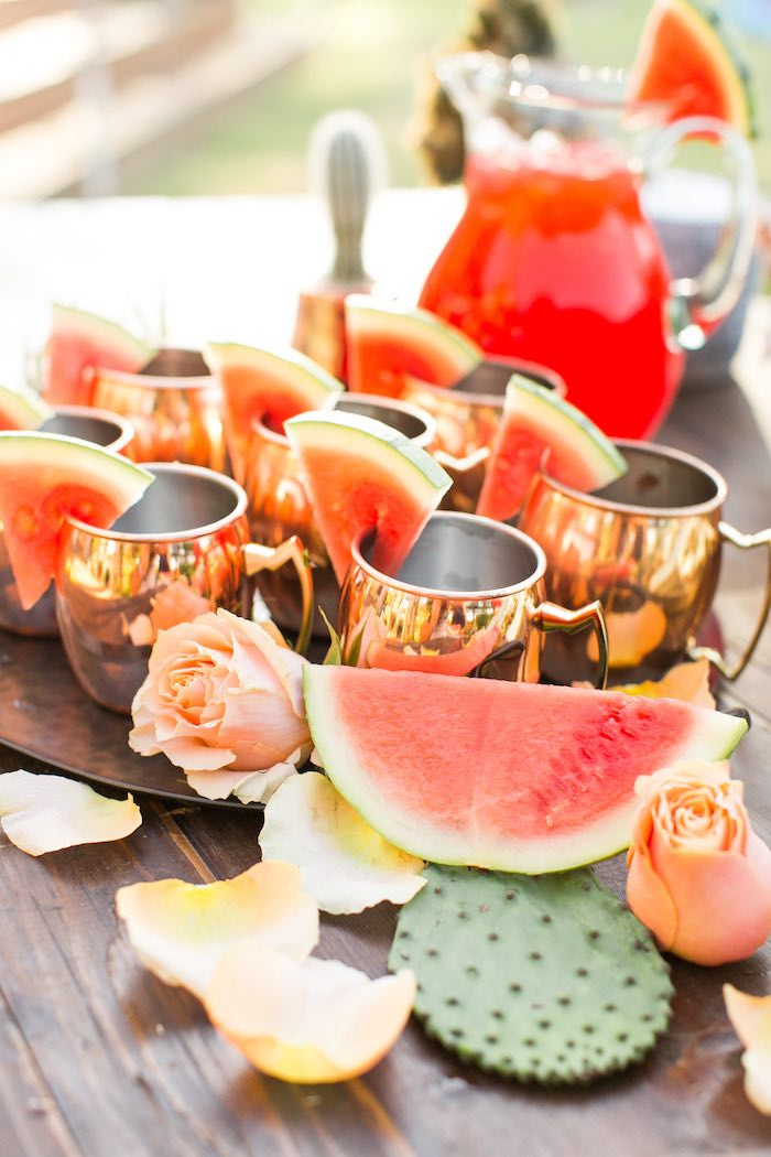 Copper Cups topped with Watermelon Slices from a Peachy Prickly 1st Birthday Party on Kara's Party Ideas | KarasPartyIdeas.com (16)