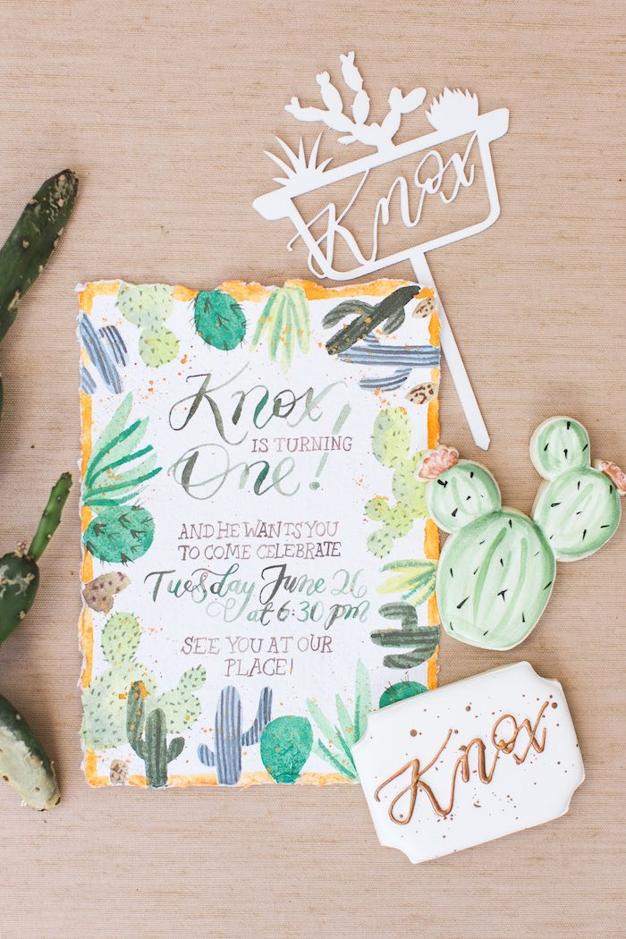 Cactus Party Invite from a Peachy Prickly 1st Birthday Party on Kara's Party Ideas | KarasPartyIdeas.com (34)