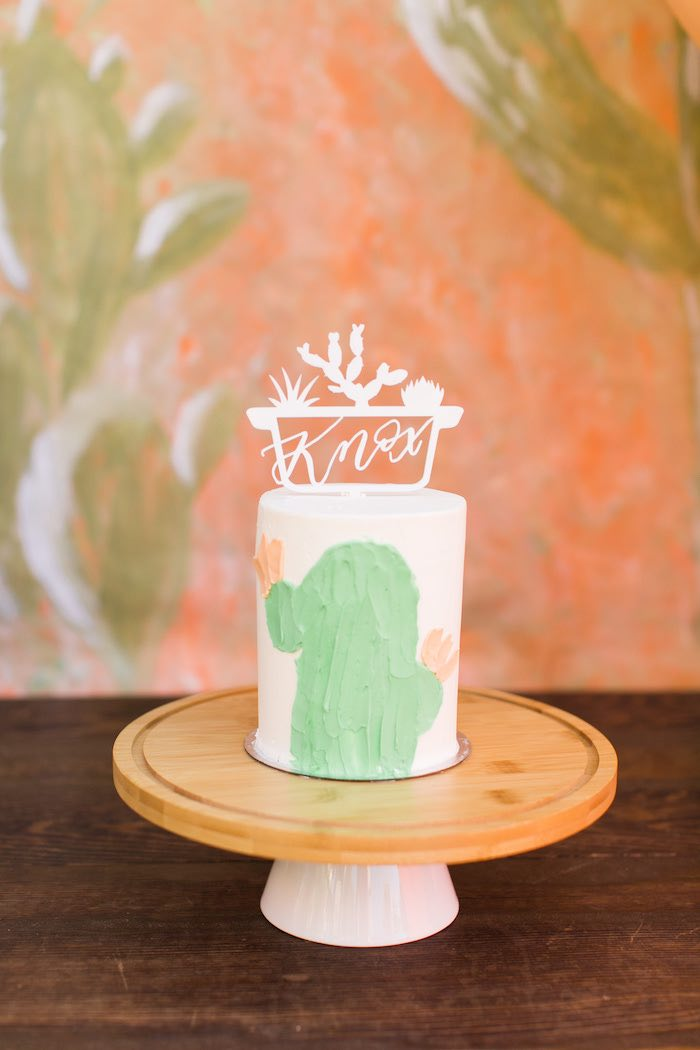 Cactus-inspired Smash Cake from a Peachy Prickly 1st Birthday Party on Kara's Party Ideas | KarasPartyIdeas.com (14)