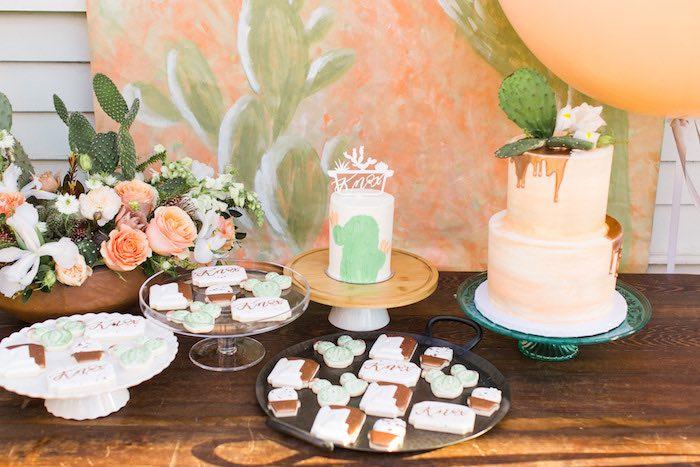 Cactus Themed Cake + Dessert Table from a Peachy Prickly 1st Birthday Party on Kara's Party Ideas | KarasPartyIdeas.com (11)