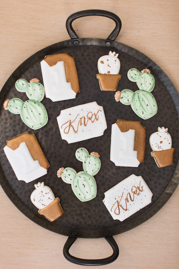 Cactus-inspired Cookies from a Peachy Prickly 1st Birthday Party on Kara's Party Ideas | KarasPartyIdeas.com (10)