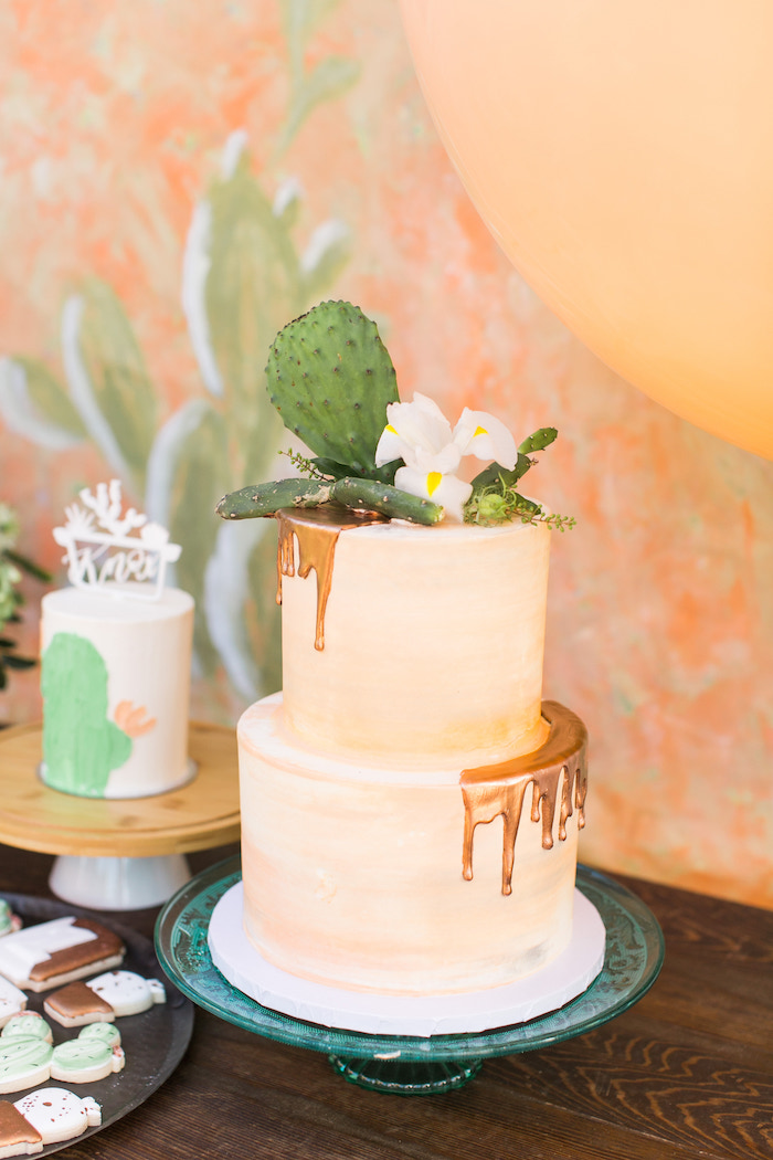 Cactus-topped Glam Drip Cake from a Peachy Prickly 1st Birthday Party on Kara's Party Ideas | KarasPartyIdeas.com (8)