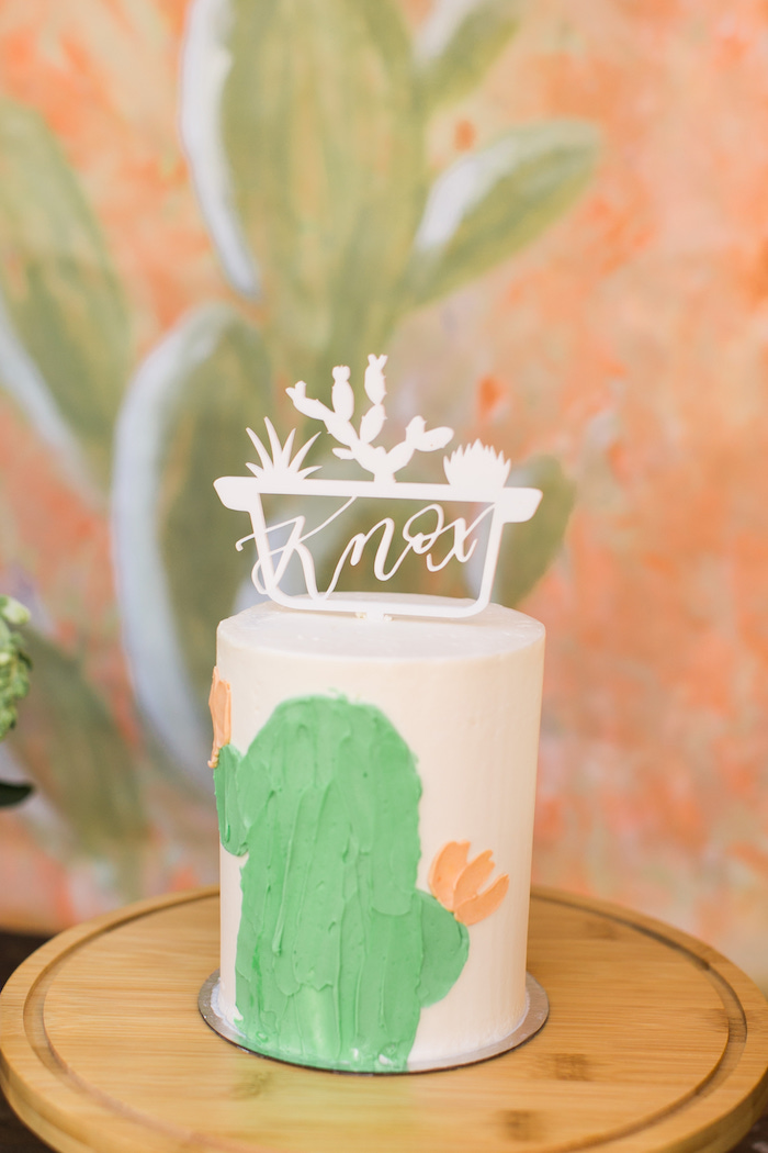 Cactus-inspired Smash Cake from a Peachy Prickly 1st Birthday Party on Kara's Party Ideas | KarasPartyIdeas.com (7)