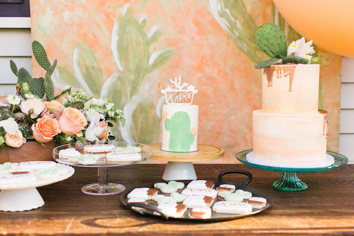 Cactus Themed Cake + Dessert Table from a Peachy Prickly 1st Birthday Party on Kara's Party Ideas | KarasPartyIdeas.com (6)