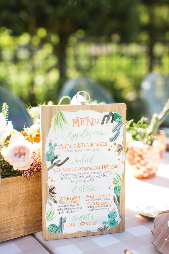Cactus-inspired Menu Card from a Peachy Prickly 1st Birthday Party on Kara's Party Ideas | KarasPartyIdeas.com (33)
