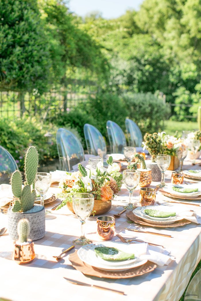 Cactus Themed Guest Table from a Peachy Prickly 1st Birthday Party on Kara's Party Ideas | KarasPartyIdeas.com (29)