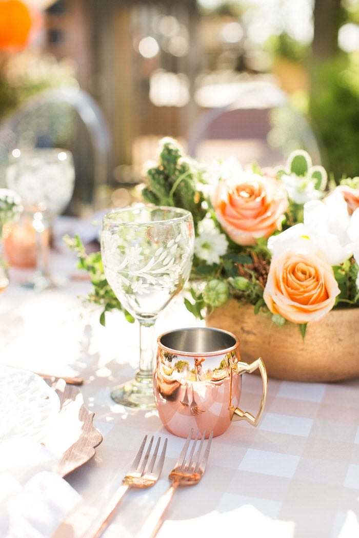 Wine Glass + Copper Cup from a Peachy Prickly 1st Birthday Party on Kara's Party Ideas | KarasPartyIdeas.com (28)