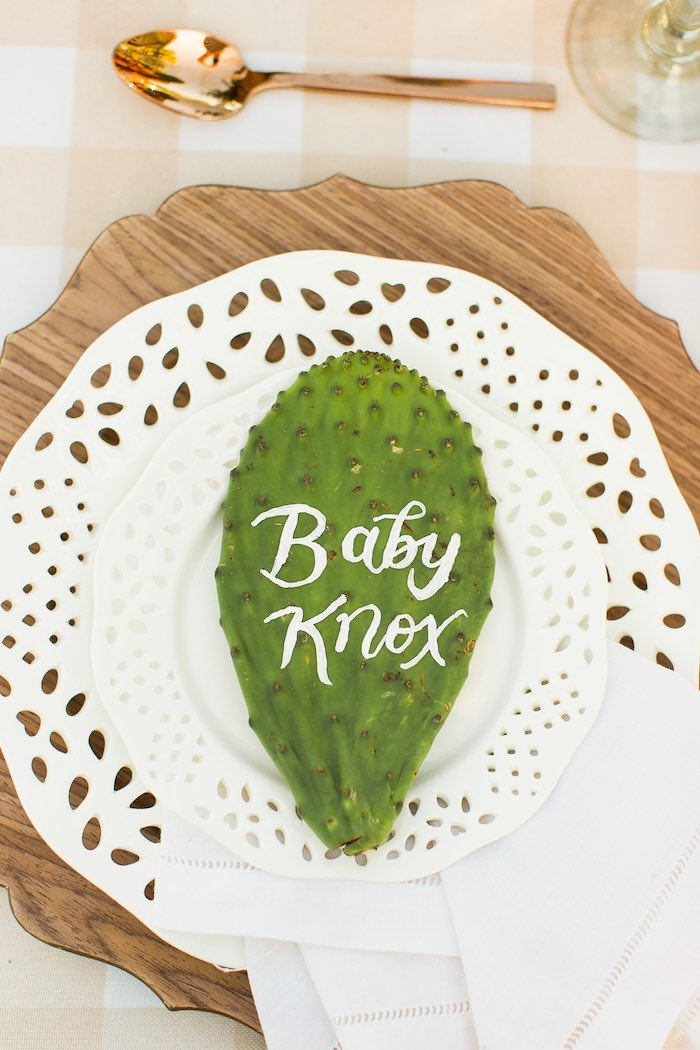 Scripted Cactus Place Card from a Peachy Prickly 1st Birthday Party on Kara's Party Ideas | KarasPartyIdeas.com (26)