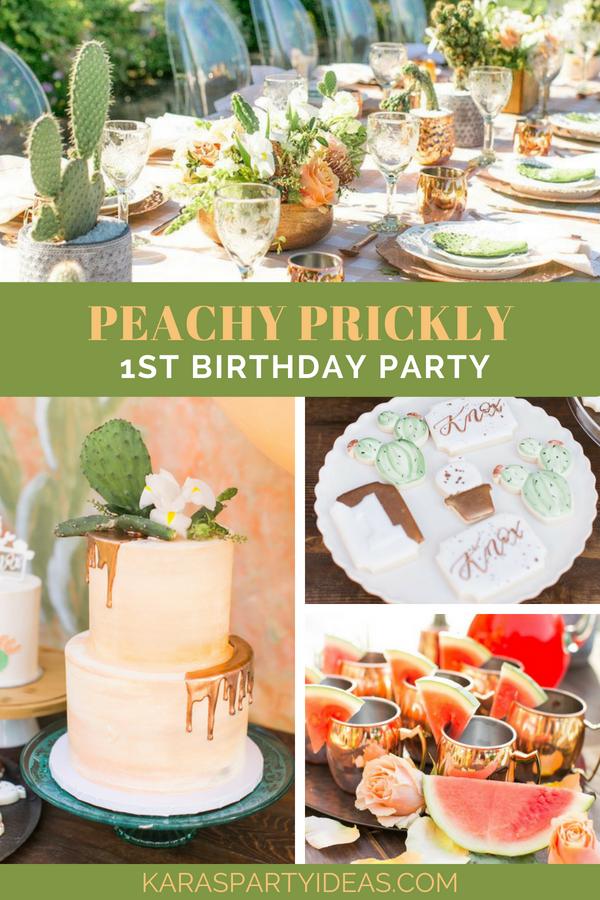 Peachy Prickly 1st Birthday Party via Kara's Party Ideas - KarasPartyIdeas.com