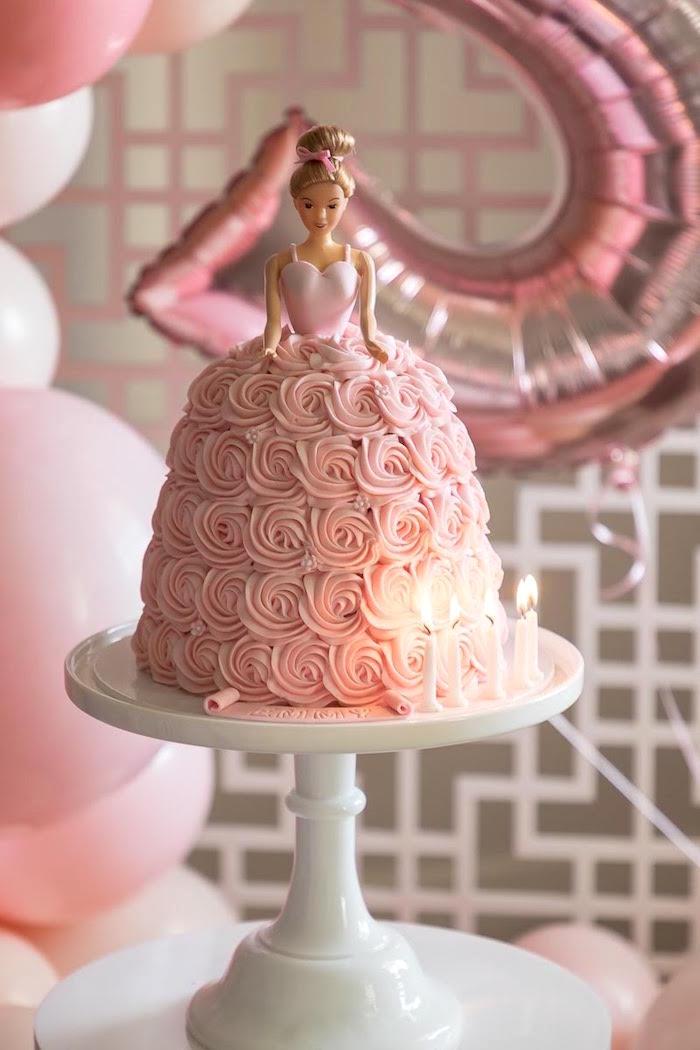 Rosette Ballerina Cake from a Pink + White Ballerina Birthday Party on Kara's Party Ideas | KarasPartyIdeas.com (9)