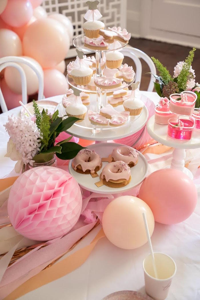 Ballet-inspired Sweets + Guest Table from a Pink + White Ballerina Birthday Party on Kara's Party Ideas | KarasPartyIdeas.com (7)
