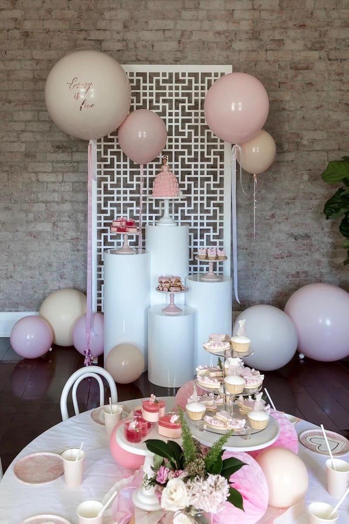 Ballerina Party Tables + Dessert Pedestals from a Pink + White Ballerina Birthday Party on Kara's Party Ideas | KarasPartyIdeas.com (5)