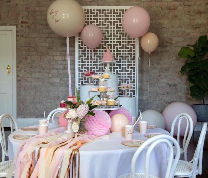 Ballerina Party Tables from a Pink + White Ballerina Birthday Party on Kara's Party Ideas | KarasPartyIdeas.com (4)