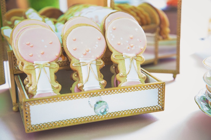 Baby Rattle Cookies from a Pretty in Pink Glam Baby Shower on Kara's Party Ideas | KarasPartyIdeas.com (17)