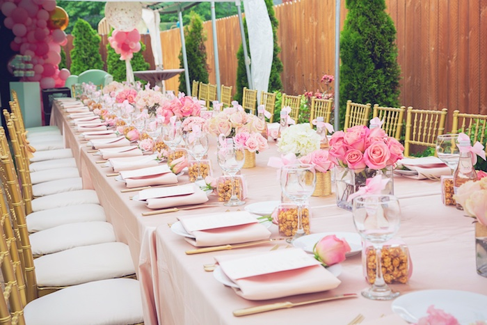 Pink Glam Dining Tablescape + Table Settings from a Pretty in Pink Glam Baby Shower on Kara's Party Ideas | KarasPartyIdeas.com (15)