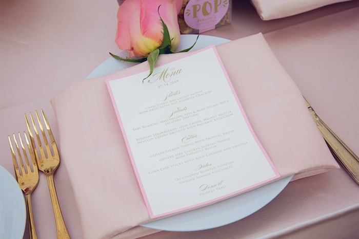 Menu Card from a Pretty in Pink Glam Baby Shower on Kara's Party Ideas | KarasPartyIdeas.com (14)