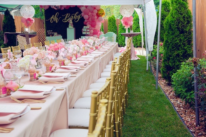 Pink Glam Dining Tablescape from a Pretty in Pink Glam Baby Shower on Kara's Party Ideas | KarasPartyIdeas.com (13)