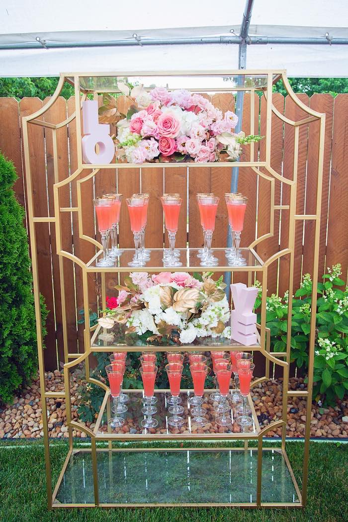 Gold Glam Drink Shelf from a Pretty in Pink Glam Baby Shower on Kara's Party Ideas | KarasPartyIdeas.com (10)