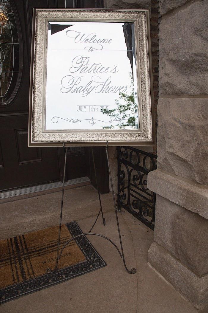 Mirror Welcome Sign from a Pretty in Pink Glam Baby Shower on Kara's Party Ideas | KarasPartyIdeas.com (3)