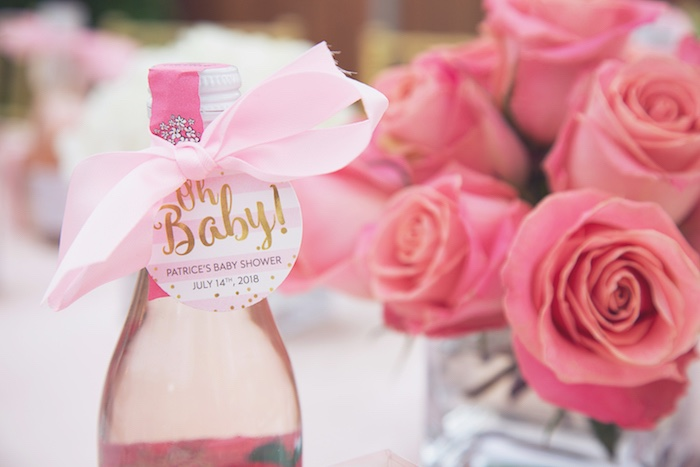 """Oh Baby"" Drink Bottle from a Pretty in Pink Glam Baby Shower on Kara's Party Ideas 