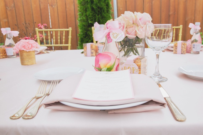 Pink + Gold Table Setting from a Pretty in Pink Glam Baby Shower on Kara's Party Ideas | KarasPartyIdeas.com (24)