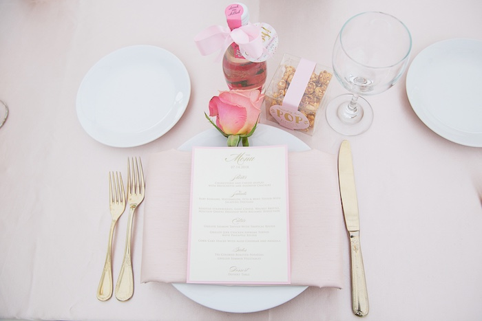 Pink Glam Table Setting from a Pretty in Pink Glam Baby Shower on Kara's Party Ideas | KarasPartyIdeas.com (23)
