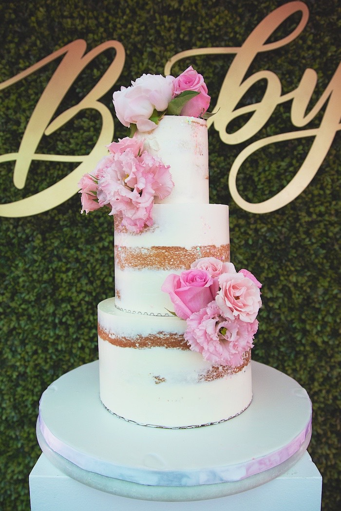 Pink Bloom Semi-naked Cake from a Pretty in Pink Glam Baby Shower on Kara's Party Ideas | KarasPartyIdeas.com (21)