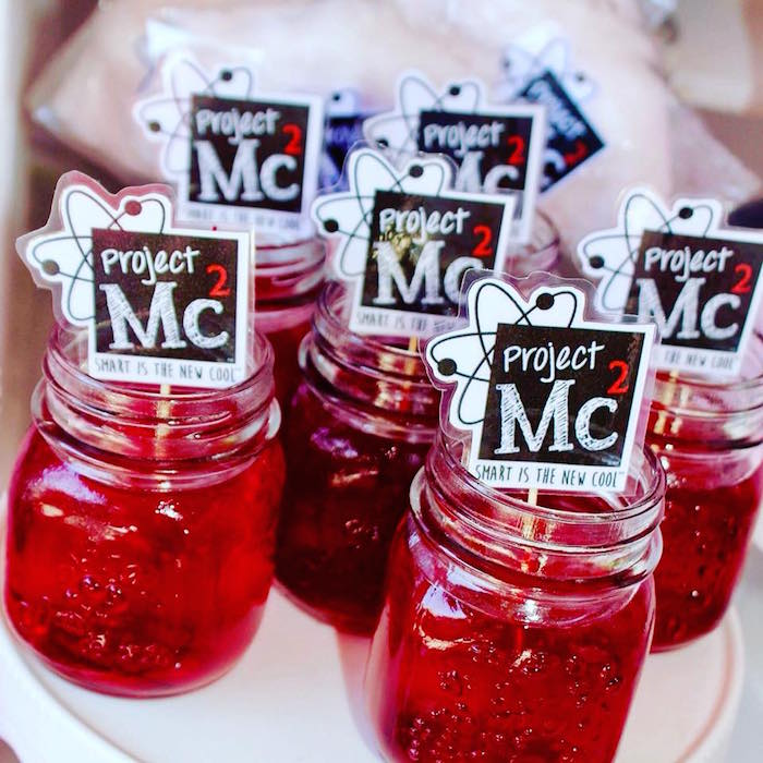 Science Jello Cups with Custom Toppers from a Project Mc2 Inspired Girly Science Party on Kara's Party Ideas | KarasPartyIdeas.com (16)