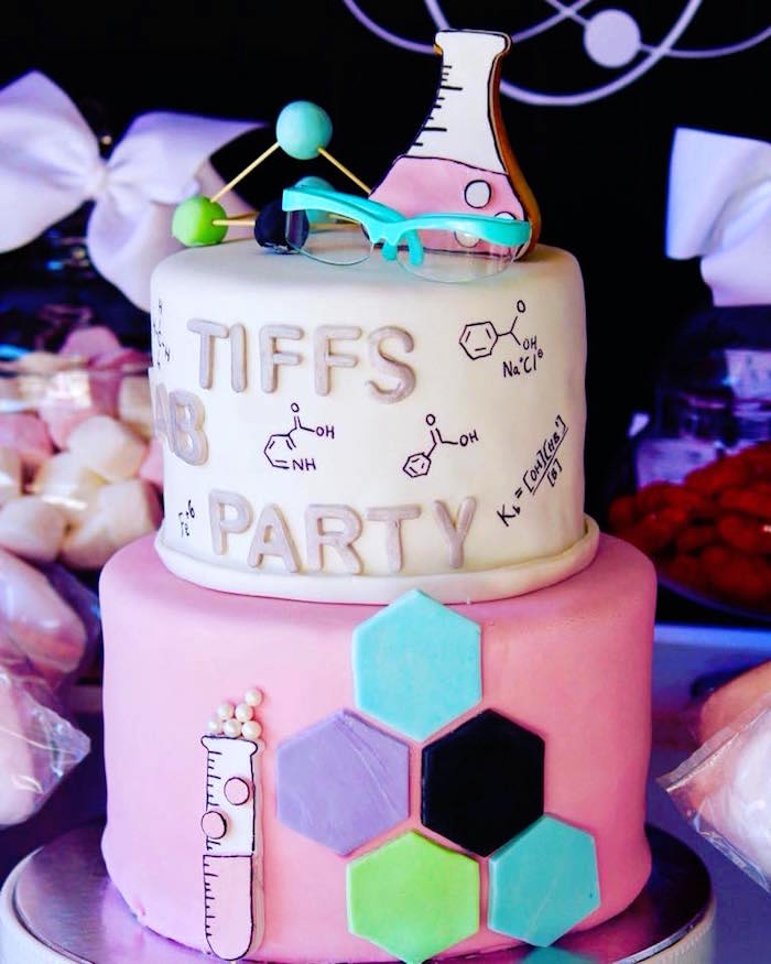 Girly Science Cake from a Project Mc2 Inspired Girly Science Party on Kara's Party Ideas | KarasPartyIdeas.com (14)