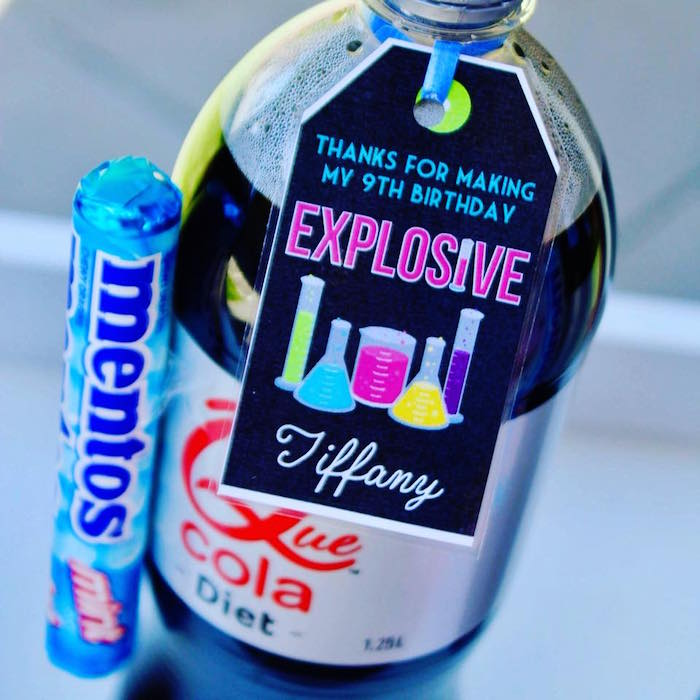 Explosive Science Soda Pop Favor from a Project Mc2 Inspired Girly Science Party on Kara's Party Ideas | KarasPartyIdeas.com (11)