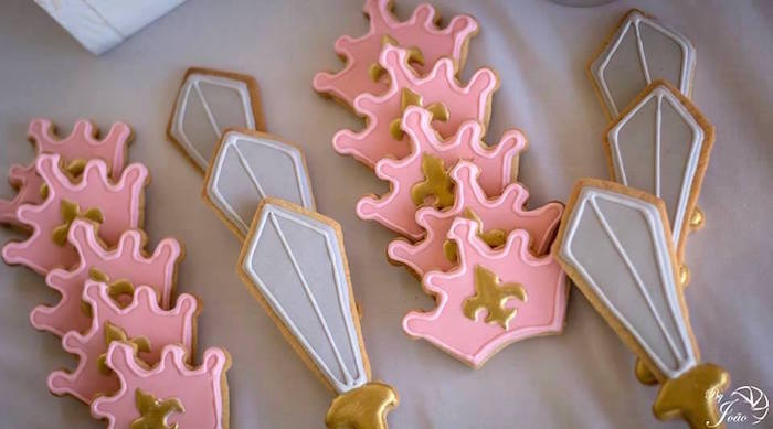 Sword & Crown Cookies from a Royal Princess & Knight Birthday Party on Kara's Party Ideas | KarasPartyIdeas.com (14)