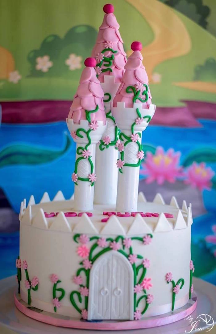 Castle Cake from a Royal Princess & Knight Birthday Party on Kara's Party Ideas | KarasPartyIdeas.com (11)
