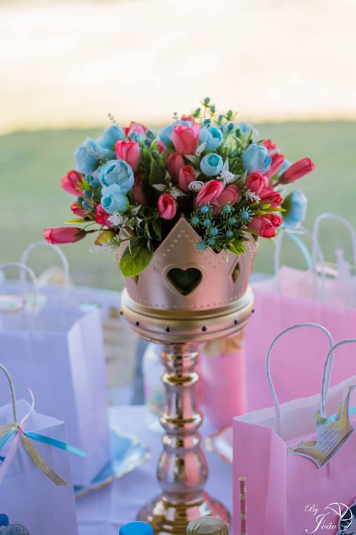 Royal Crown Floral Arrangement from a Royal Princess & Knight Birthday Party on Kara's Party Ideas | KarasPartyIdeas.com (10)