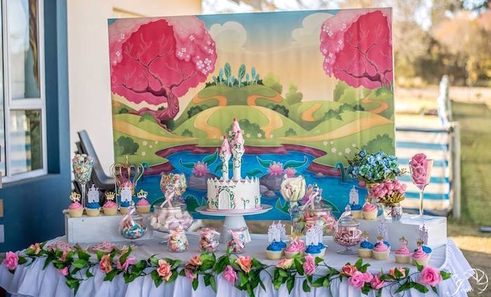 Royal Princess & Knight Birthday Party Table on Kara's Party Ideas | KarasPartyIdeas.com (6)