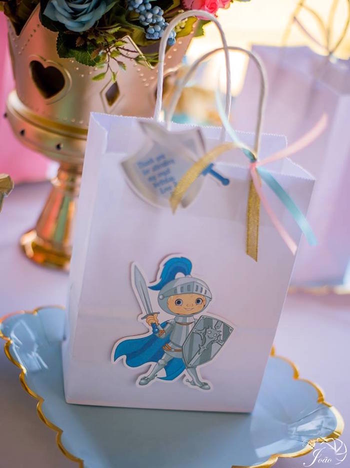 Knight-inspired Gift Bag from a Royal Princess & Knight Birthday Party on Kara's Party Ideas | KarasPartyIdeas.com (23)